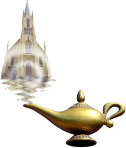 church building genie bottle
