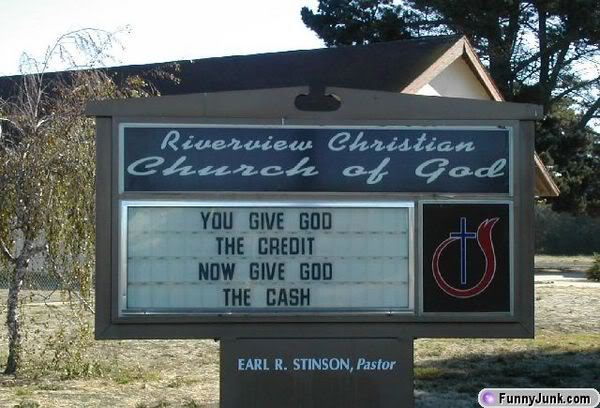 hostile tithing sign