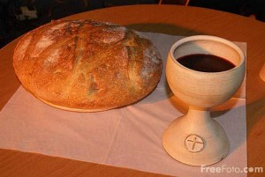 Communion with bread and wine